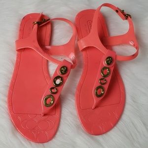 Coach Philla Jelly Gold Flat Thong Sandal Shoes